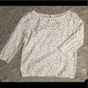 Loft patterned cream-colored 3/4 long sleeve